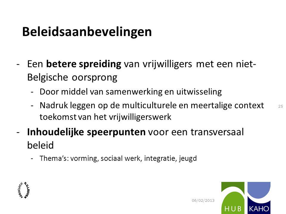 -Een betere spreiding van vrijwilligers met een niet- Belgische oorsprong -Door middel van samenwerking en uitwisseling -Nadruk leggen op de multicult