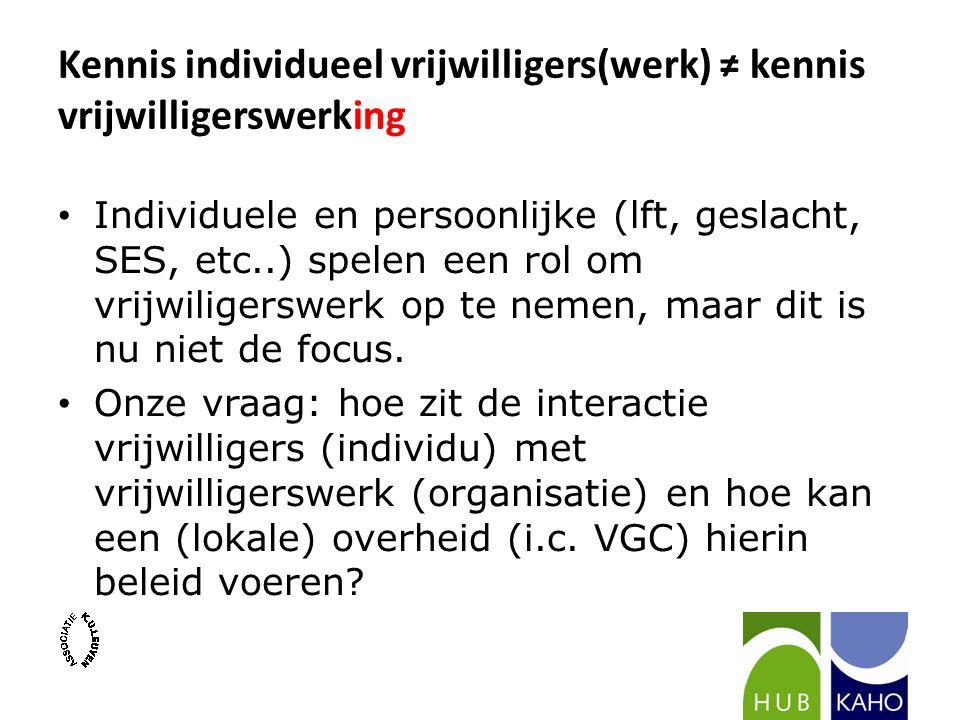 Kennis individueel vrijwilligers(werk) ≠ kennis vrijwilligerswerking Individuele en persoonlijke (lft, geslacht, SES, etc..) spelen een rol om vrijwiligerswerk op te nemen, maar dit is nu niet de focus.