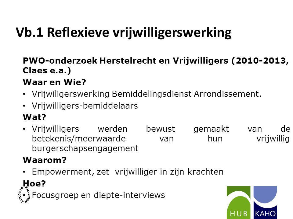 Vb.1 Reflexieve vrijwilligerswerking PWO-onderzoek Herstelrecht en Vrijwilligers (2010-2013, Claes e.a.) Waar en Wie? Vrijwiligerswerking Bemiddelings
