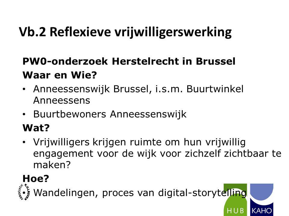 Vb.2 Reflexieve vrijwilligerswerking PW0-onderzoek Herstelrecht in Brussel Waar en Wie? Anneessenswijk Brussel, i.s.m. Buurtwinkel Anneessens Buurtbew