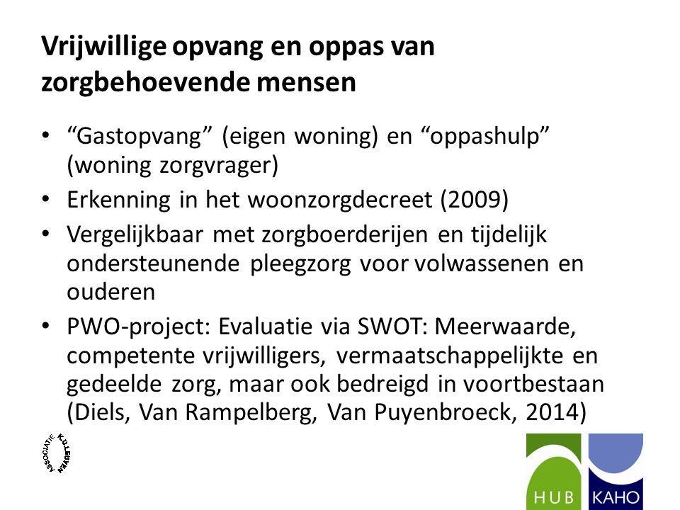 Vrijwillige opvang en oppas van zorgbehoevende mensen Gastopvang (eigen woning) en oppashulp (woning zorgvrager) Erkenning in het woonzorgdecreet (2009) Vergelijkbaar met zorgboerderijen en tijdelijk ondersteunende pleegzorg voor volwassenen en ouderen PWO-project: Evaluatie via SWOT: Meerwaarde, competente vrijwilligers, vermaatschappelijkte en gedeelde zorg, maar ook bedreigd in voortbestaan (Diels, Van Rampelberg, Van Puyenbroeck, 2014)