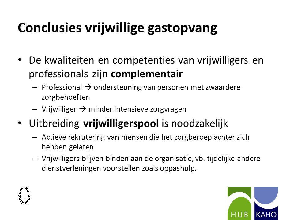 Conclusies vrijwillige gastopvang De kwaliteiten en competenties van vrijwilligers en professionals zijn complementair – Professional  ondersteuning