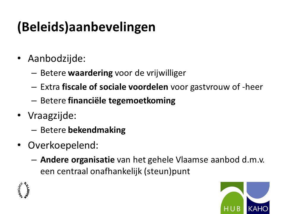 (Beleids)aanbevelingen Aanbodzijde: – Betere waardering voor de vrijwilliger – Extra fiscale of sociale voordelen voor gastvrouw of -heer – Betere financiële tegemoetkoming Vraagzijde: – Betere bekendmaking Overkoepelend: – Andere organisatie van het gehele Vlaamse aanbod d.m.v.