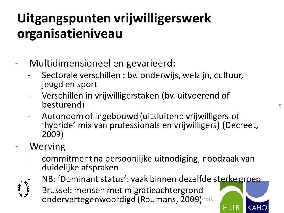 -Multidimensioneel en gevarieerd: -Sectorale verschillen : bv. onderwijs, welzijn, cultuur, jeugd en sport -Verschillen in vrijwilligerstaken (bv. uit