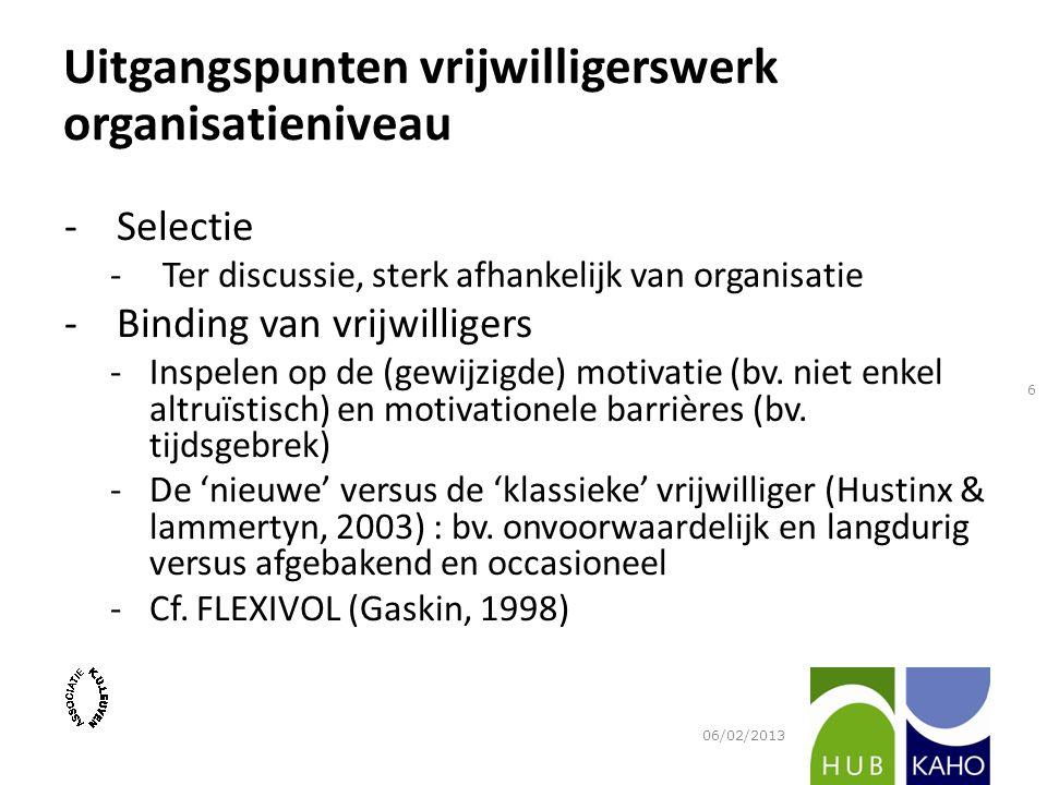 -Selectie -Ter discussie, sterk afhankelijk van organisatie -Binding van vrijwilligers -Inspelen op de (gewijzigde) motivatie (bv.