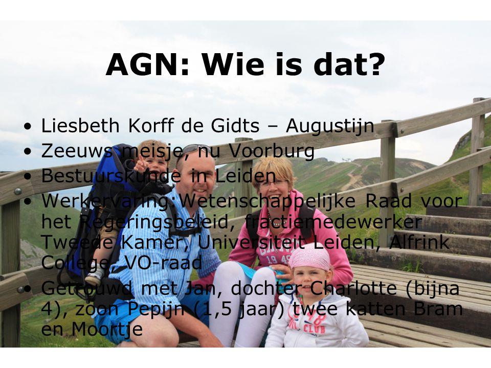 AGN: Wie is dat? Liesbeth Korff de Gidts – Augustijn Zeeuws meisje, nu Voorburg Bestuurskunde in Leiden Werkervaring:Wetenschappelijke Raad voor het R