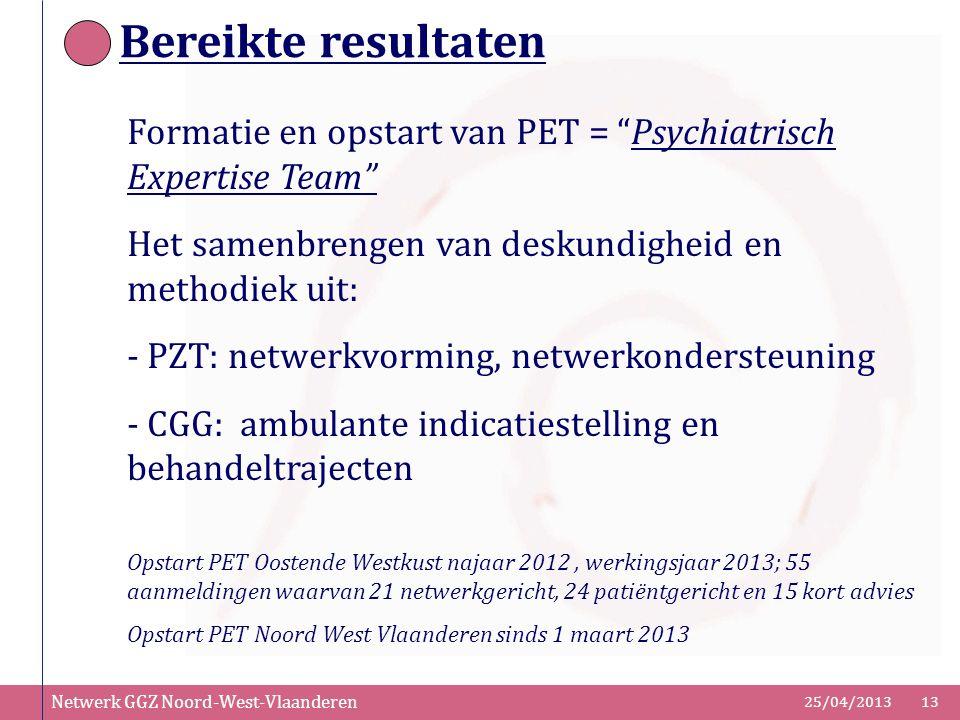 """Netwerk GGZ Noord-West-Vlaanderen 25/04/201313 Bereikte resultaten Formatie en opstart van PET = """"Psychiatrisch Expertise Team"""" Het samenbrengen van d"""
