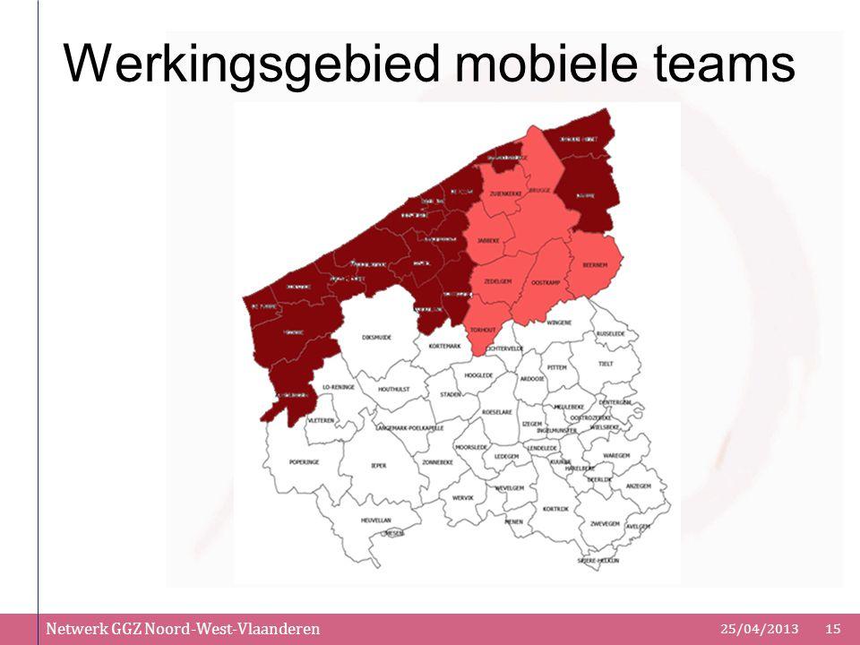 Netwerk GGZ Noord-West-Vlaanderen 25/04/201315 Werkingsgebied mobiele teams