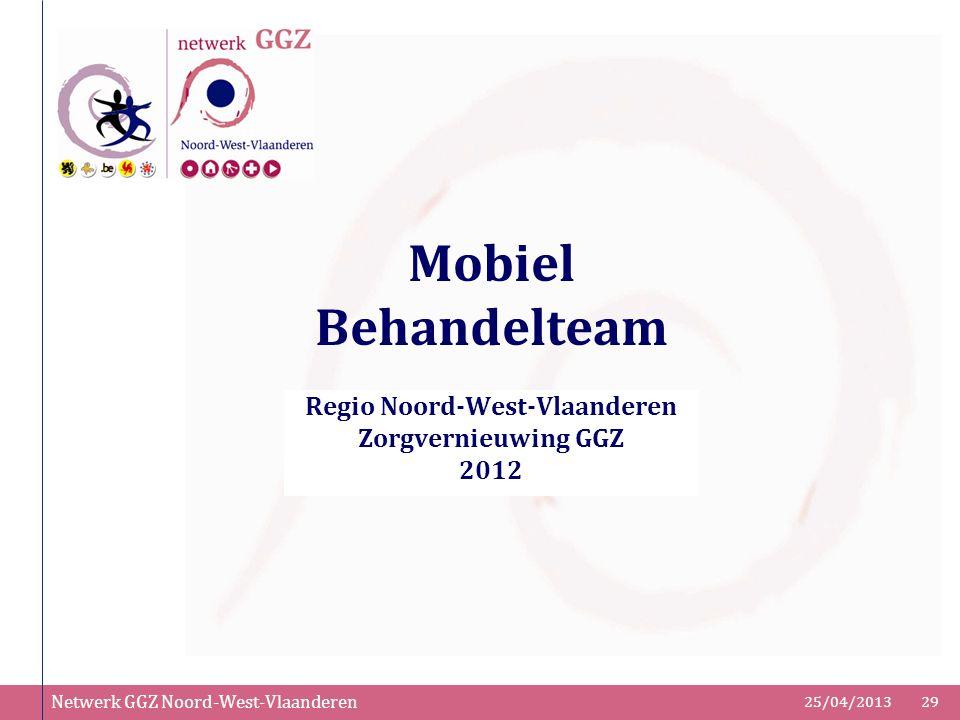 Netwerk GGZ Noord-West-Vlaanderen 25/04/201329 Mobiel Behandelteam Regio Noord-West-Vlaanderen Zorgvernieuwing GGZ 2012