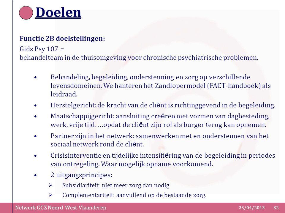 Netwerk GGZ Noord-West-Vlaanderen 25/04/201332 Doelen Functie 2B doelstellingen: Gids Psy 107 = behandelteam in de thuisomgeving voor chronische psych