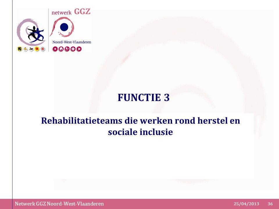 Netwerk GGZ Noord-West-Vlaanderen 25/04/201336 FUNCTIE 3 Rehabilitatieteams die werken rond herstel en sociale inclusie