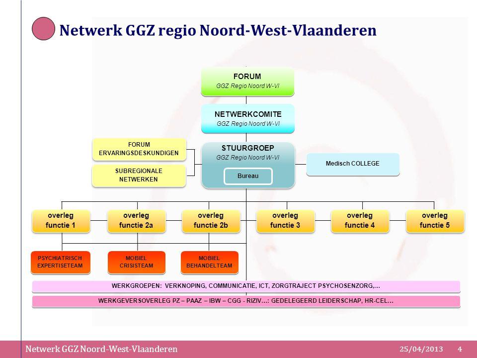 Netwerk GGZ Noord-West-Vlaanderen 25/04/20134 FORUM GGZ Regio Noord W-Vl NETWERKCOMITE GGZ Regio Noord W-Vl STUURGROEP GGZ Regio Noord W-Vl STUURGROEP