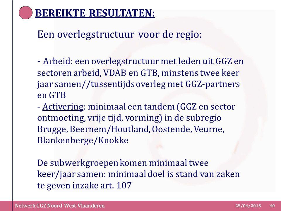 Netwerk GGZ Noord-West-Vlaanderen 25/04/201340 BEREIKTE RESULTATEN: Een overlegstructuur voor de regio: - Arbeid: een overlegstructuur met leden uit G