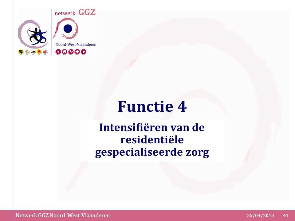 Netwerk GGZ Noord-West-Vlaanderen 25/04/201341 Functie 4 Intensifiëren van de residentiële gespecialiseerde zorg