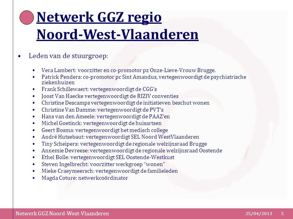 Netwerk GGZ Noord-West-Vlaanderen 25/04/20135 Leden van de stuurgroep : Vera Lambert: voorzitter en co-promotor pz Onze-Lieve-Vrouw Brugge. Patrick Pe