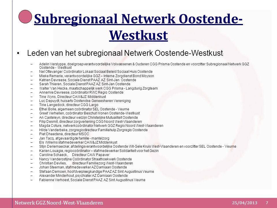 Netwerk GGZ Noord-West-Vlaanderen 25/04/20137 Subregionaal Netwerk Oostende- Westkust Leden van het subregionaal Netwerk Oostende-Westkust : –Adelin V