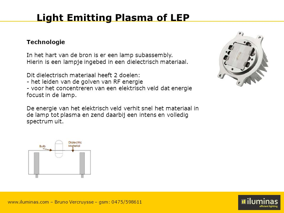 ILUMINAS Lighting Solutions – CONFIDENTIAL 14 www.iluminas.com – Bruno Vercruysse – gsm: 0475/598611 Light Emitting Plasma of LEP Technologie In het h