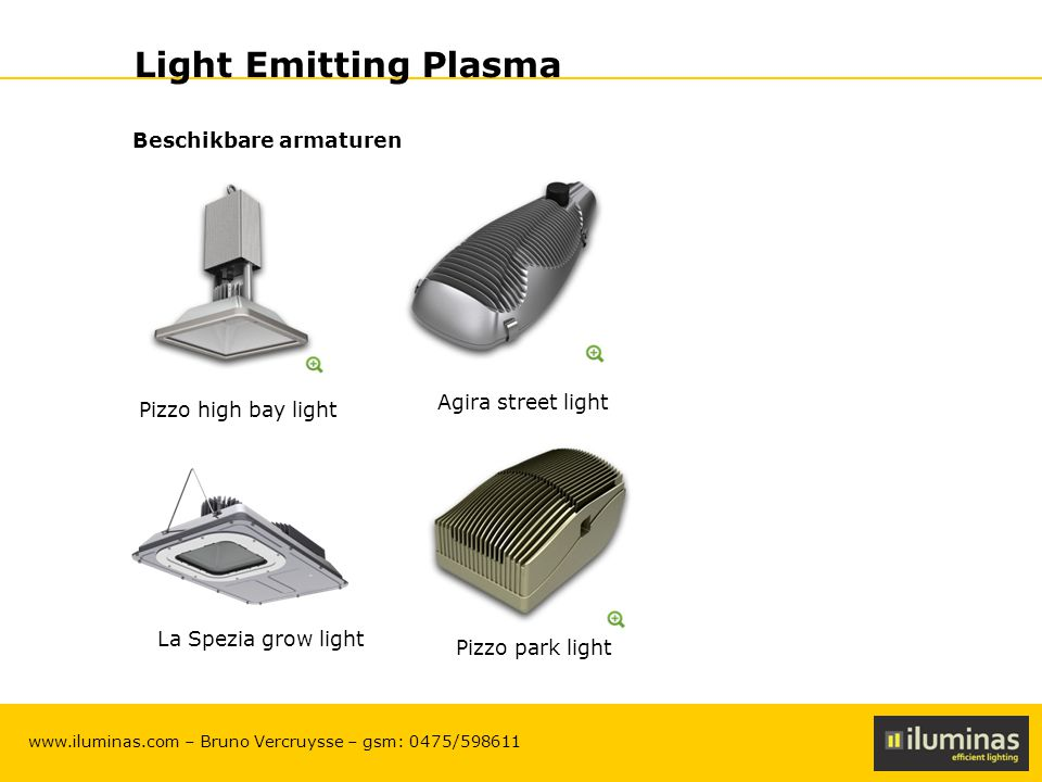 ILUMINAS Lighting Solutions – CONFIDENTIAL 18 www.iluminas.com – Bruno Vercruysse – gsm: 0475/598611 Light Emitting Plasma Beschikbare armaturen La Sp