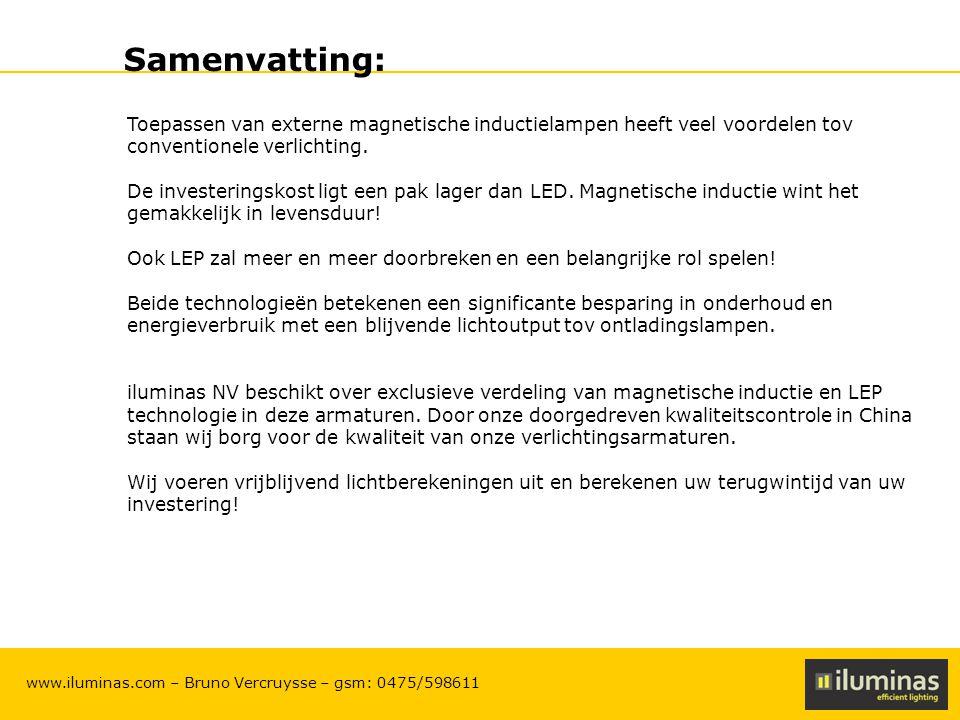 ILUMINAS Lighting Solutions – CONFIDENTIAL 23 www.iluminas.com – Bruno Vercruysse – gsm: 0475/598611 Samenvatting: Toepassen van externe magnetische i