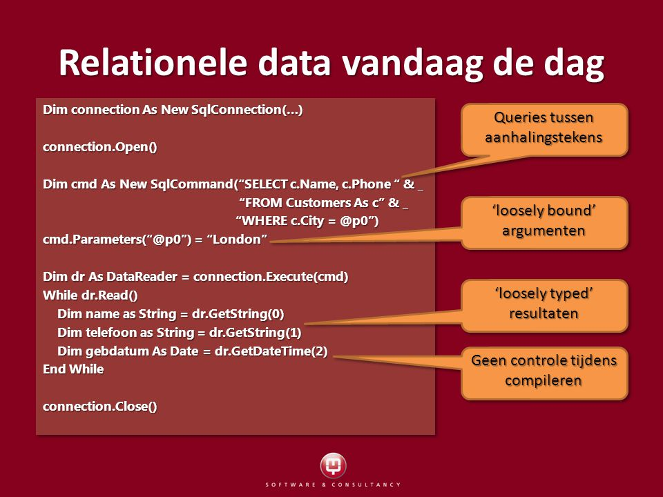 Relationele data vandaag de dag Dim connection As New SqlConnection(…) connection.Open() Dim cmd As New SqlCommand( SELECT c.Name, c.Phone & _ FROM Customers As c & _ FROM Customers As c & _ WHERE c.City ) WHERE c.City ) ) = London Dim dr As DataReader = connection.Execute(cmd) While dr.Read() Dim name as String = dr.GetString(0) Dim name as String = dr.GetString(0) Dim telefoon as String = dr.GetString(1) Dim telefoon as String = dr.GetString(1) Dim gebdatum As Date = dr.GetDateTime(2) Dim gebdatum As Date = dr.GetDateTime(2) End While connection.Close() Dim connection As New SqlConnection(…) connection.Open() Dim cmd As New SqlCommand( SELECT c.Name, c.Phone & _ FROM Customers As c & _ FROM Customers As c & _ WHERE c.City ) WHERE c.City ) ) = London Dim dr As DataReader = connection.Execute(cmd) While dr.Read() Dim name as String = dr.GetString(0) Dim name as String = dr.GetString(0) Dim telefoon as String = dr.GetString(1) Dim telefoon as String = dr.GetString(1) Dim gebdatum As Date = dr.GetDateTime(2) Dim gebdatum As Date = dr.GetDateTime(2) End While connection.Close() Queries tussen aanhalingstekens