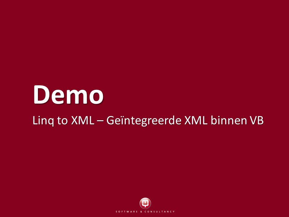 Demo Linq to XML – Geïntegreerde XML binnen VB