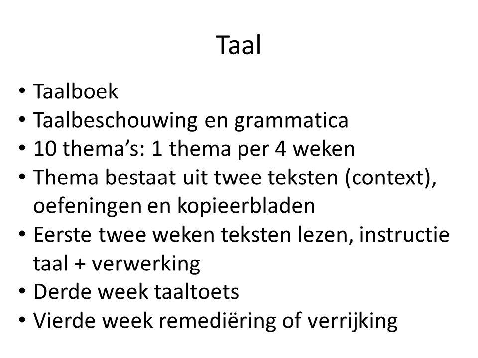 Taal Taalboek Taalbeschouwing en grammatica 10 thema's: 1 thema per 4 weken Thema bestaat uit twee teksten (context), oefeningen en kopieerbladen Eers