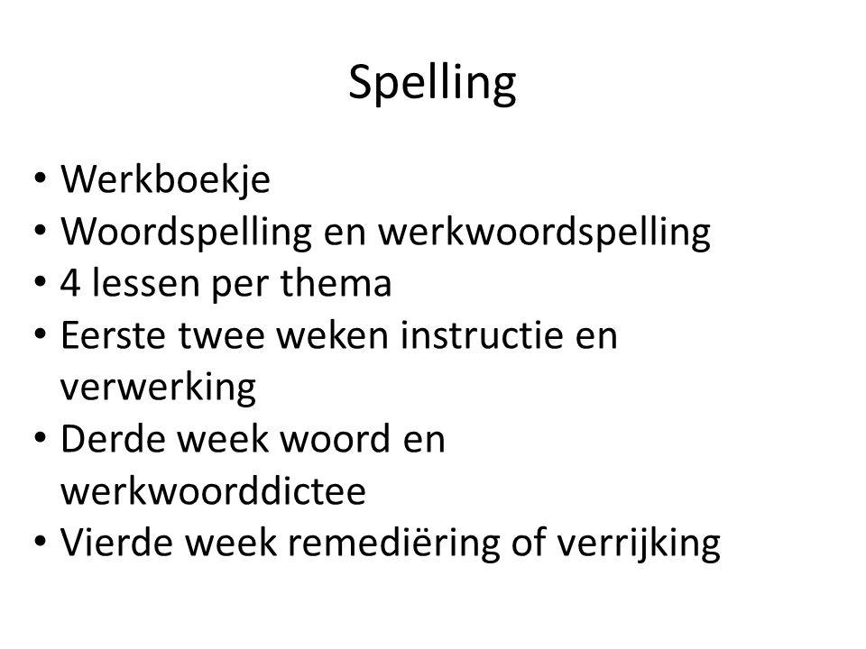 Spelling Werkboekje Woordspelling en werkwoordspelling 4 lessen per thema Eerste twee weken instructie en verwerking Derde week woord en werkwoorddict