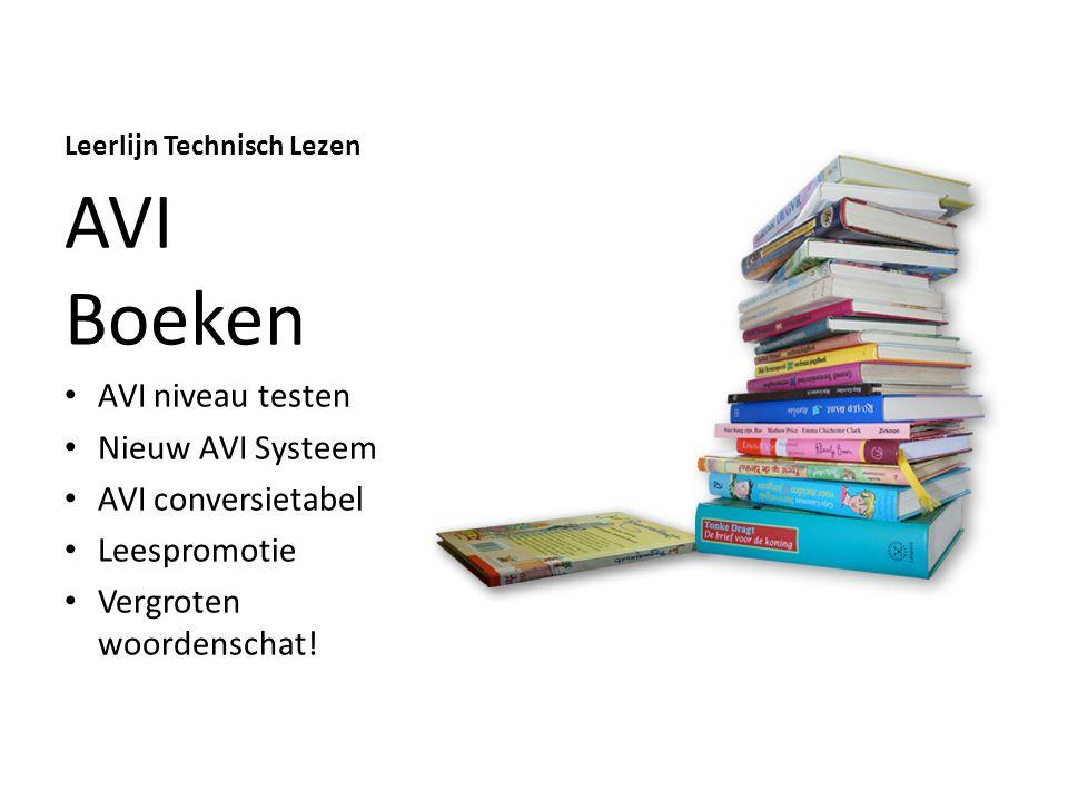 Leerlijn Technisch Lezen AVI Boeken AVI niveau testen Nieuw AVI Systeem AVI conversietabel Leespromotie Vergroten woordenschat!