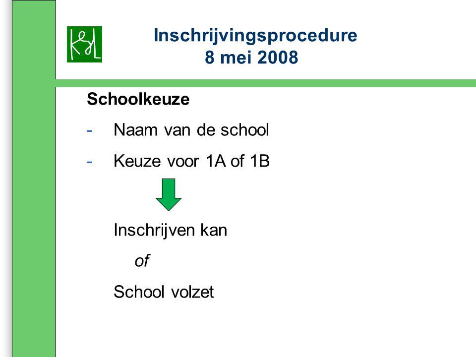 Inschrijvingsprocedure 8 mei 2008 Schoolkeuze -Naam van de school -Keuze voor 1A of 1B Inschrijven kan of School volzet