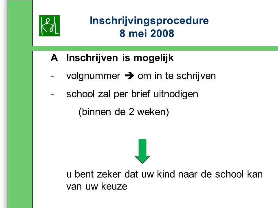 Inschrijvingsprocedure 8 mei 2008 AInschrijven is mogelijk -volgnummer  om in te schrijven -school zal per brief uitnodigen (binnen de 2 weken) u bent zeker dat uw kind naar de school kan van uw keuze