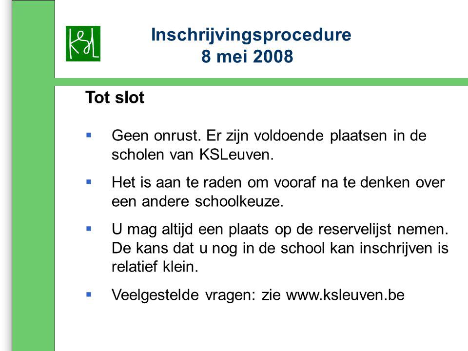 Inschrijvingsprocedure 8 mei 2008 Tot slot  Geen onrust.