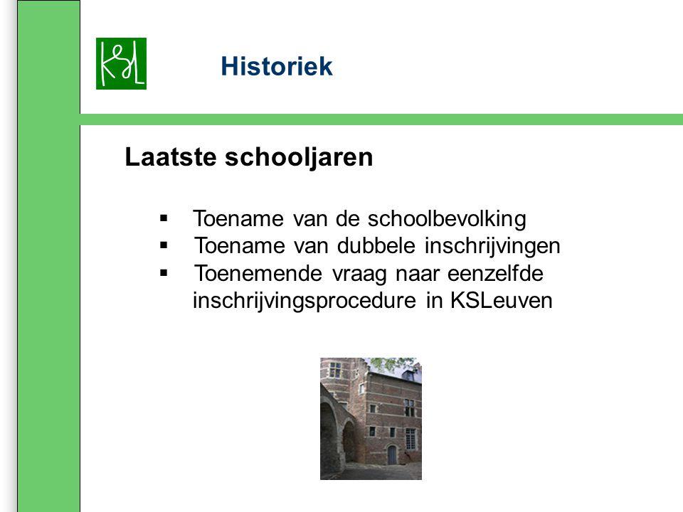 Historiek Laatste schooljaren  Toename van de schoolbevolking  Toename van dubbele inschrijvingen  Toenemende vraag naar eenzelfde inschrijvingsprocedure in KSLeuven