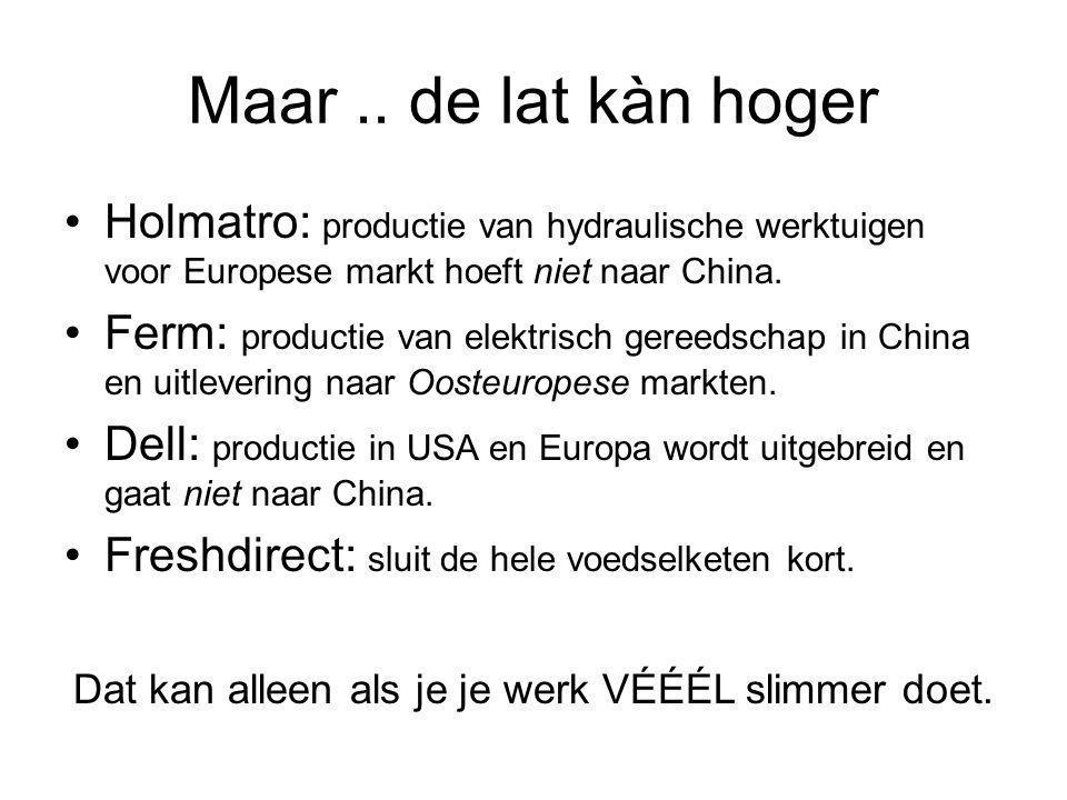 Maar.. de lat kàn hoger Holmatro: productie van hydraulische werktuigen voor Europese markt hoeft niet naar China. Ferm: productie van elektrisch gere