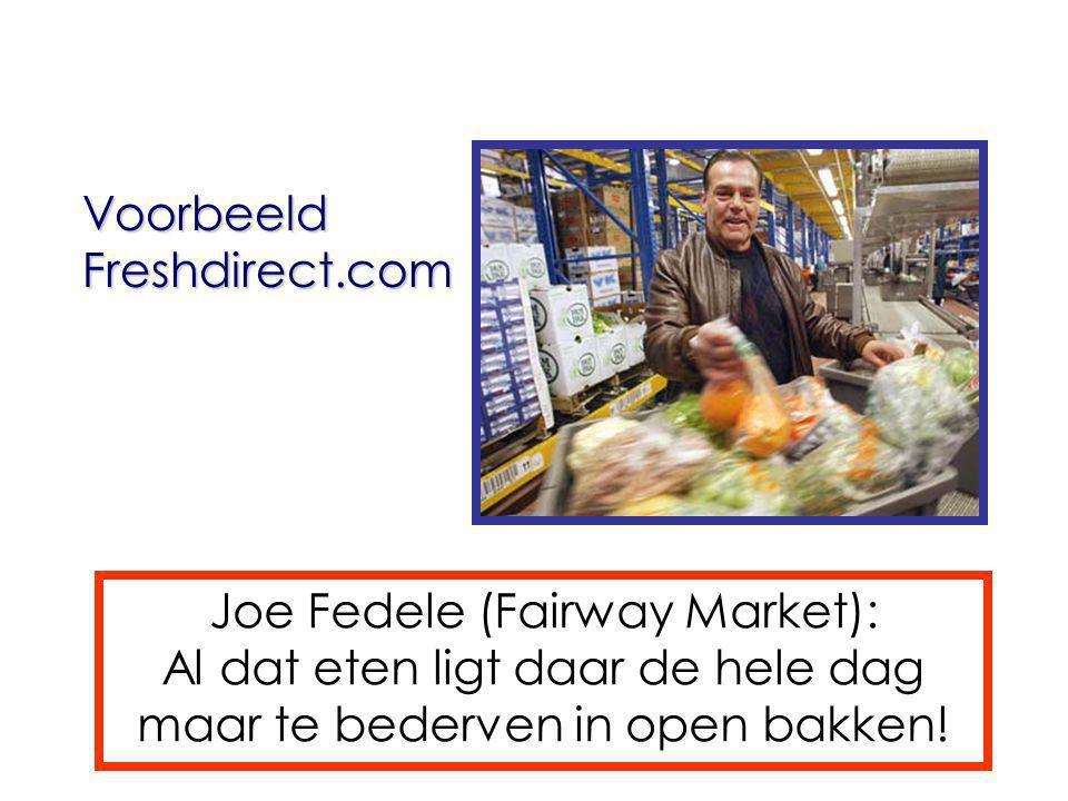 VoorbeeldFreshdirect.com Joe Fedele (Fairway Market): Al dat eten ligt daar de hele dag maar te bederven in open bakken!