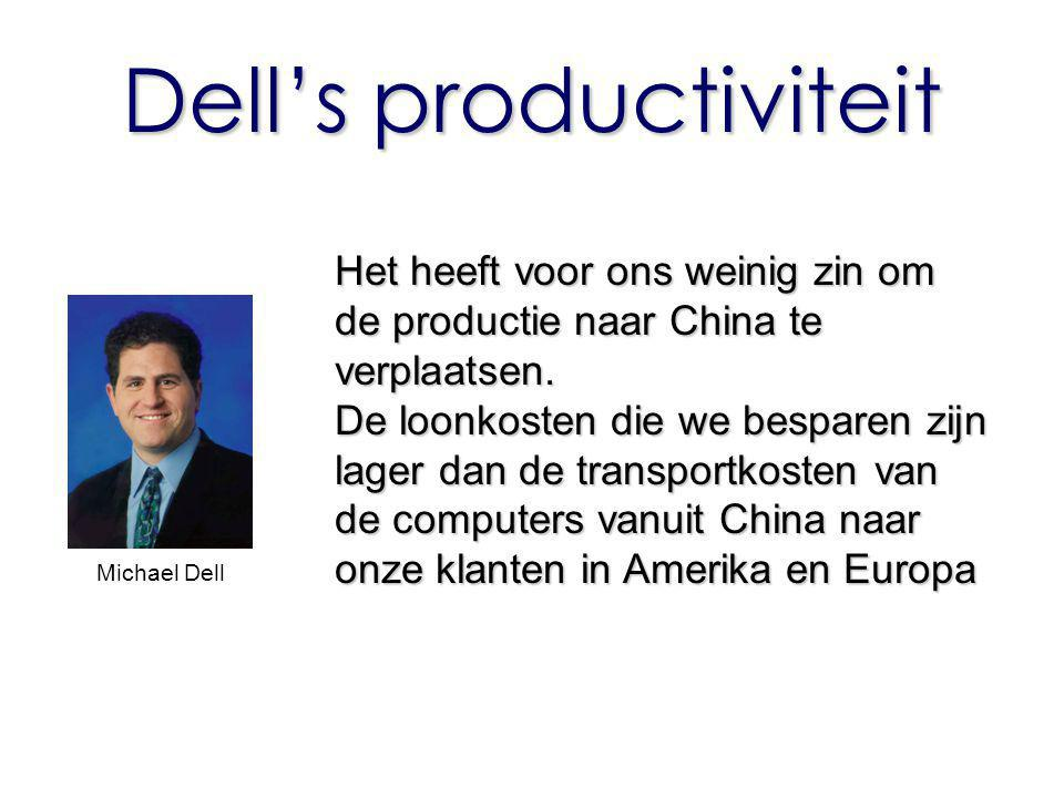Dell's productiviteit Het heeft voor ons weinig zin om de productie naar China te verplaatsen. De loonkosten die we besparen zijn lager dan de transpo
