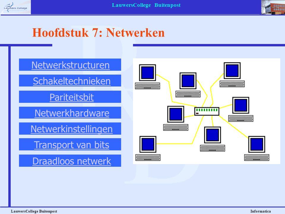 LauwersCollege Buitenpost LauwersCollege Buitenpost Informatica Hoofdstuk 7: Netwerken Netwerkstructuren Schakeltechnieken Pariteitsbit Netwerkhardwar