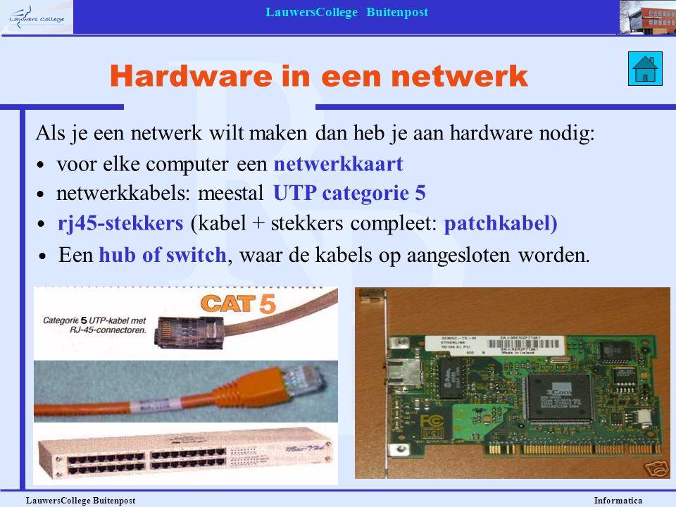 LauwersCollege Buitenpost LauwersCollege Buitenpost Informatica Hardware in een netwerk Als je een netwerk wilt maken dan heb je aan hardware nodig: v