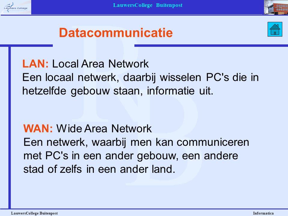 LauwersCollege Buitenpost LauwersCollege Buitenpost Informatica Datacommunicatie LAN: Local Area Network Een locaal netwerk, daarbij wisselen PC's die