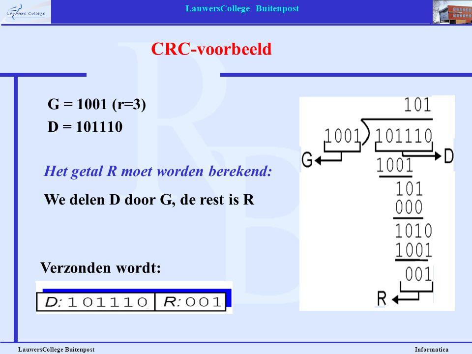 LauwersCollege Buitenpost LauwersCollege Buitenpost Informatica CRC-voorbeeld G = 1001 (r=3) D = 101110 Het getal R moet worden berekend: We delen D d