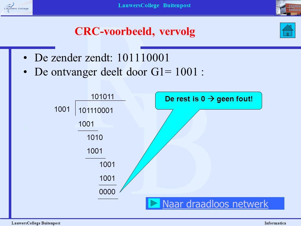 LauwersCollege Buitenpost LauwersCollege Buitenpost Informatica De zender zendt: 101110001 De ontvanger deelt door G1= 1001 : 101011 101110001 1001 10