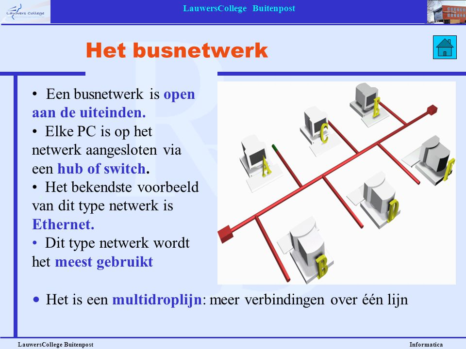LauwersCollege Buitenpost LauwersCollege Buitenpost Informatica Een busnetwerk is open aan de uiteinden. Elke PC is op het netwerk aangesloten via een