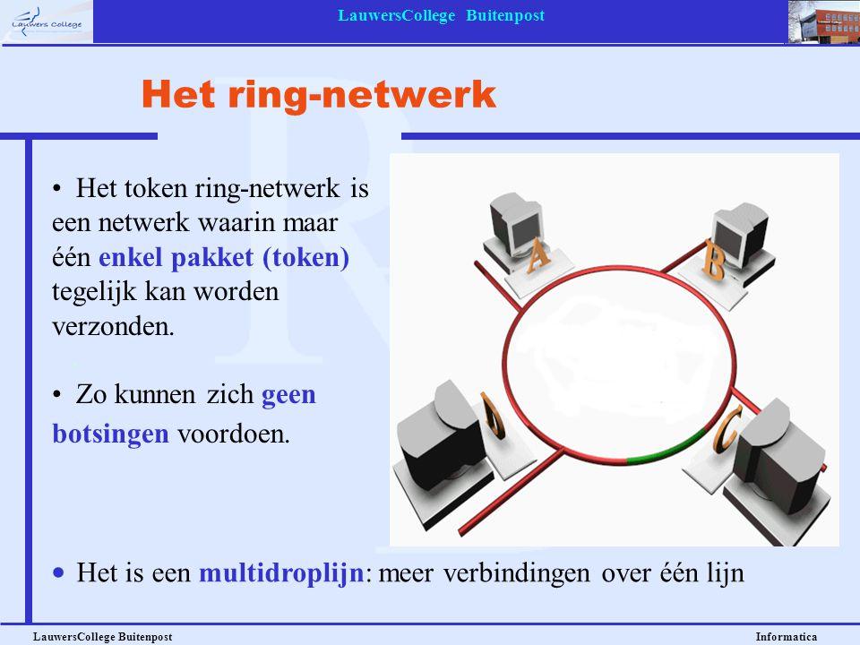 LauwersCollege Buitenpost LauwersCollege Buitenpost Informatica Het token ring-netwerk is een netwerk waarin maar één enkel pakket (token) tegelijk ka