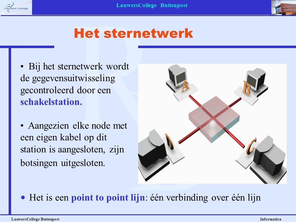 LauwersCollege Buitenpost LauwersCollege Buitenpost Informatica Bij het sternetwerk wordt de gegevensuitwisseling gecontroleerd door een schakelstatio