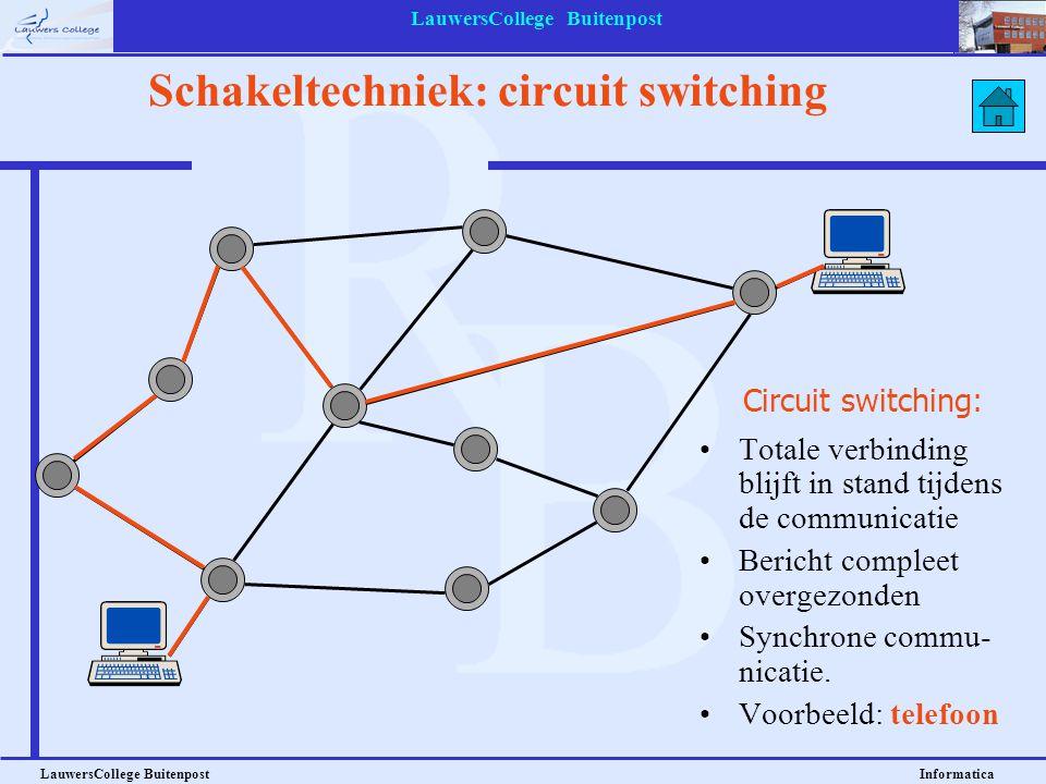 LauwersCollege Buitenpost LauwersCollege Buitenpost Informatica Schakeltechniek: circuit switching Circuit switching: Totale verbinding blijft in stan
