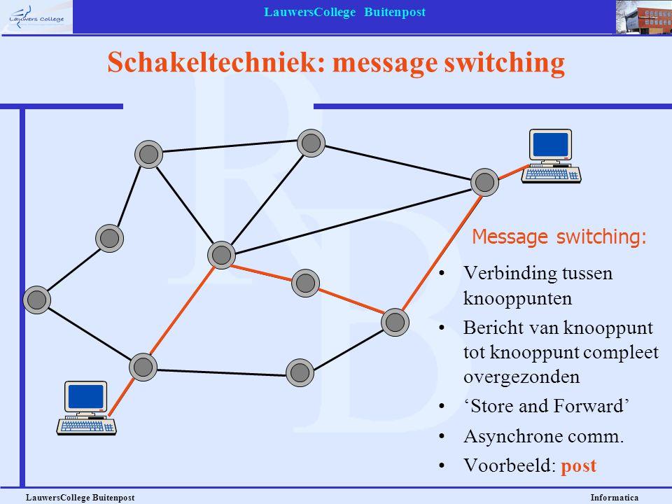 LauwersCollege Buitenpost LauwersCollege Buitenpost Informatica Schakeltechniek: message switching Message switching: Verbinding tussen knooppunten Be