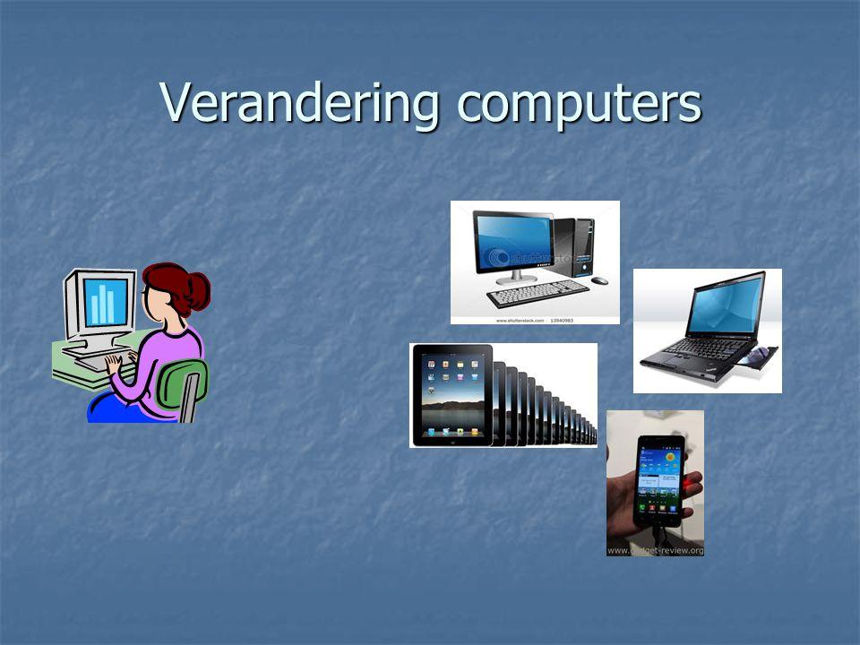 De 'Cloud' Online opslag van documenten, data. Bijvoorbeeld: Google-docs Skydrive Drop-box