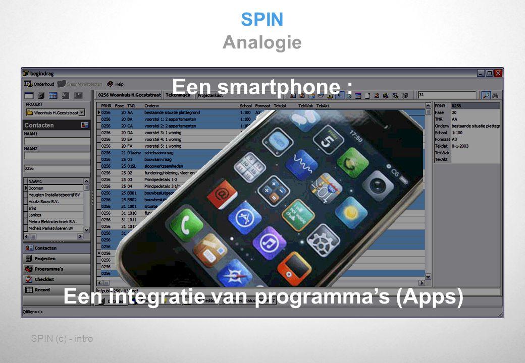 SPIN (c) - intro Een smartphone : Een integratie van programma's (Apps) SPIN Analogie