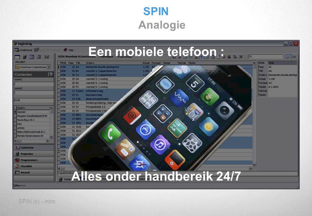 SPIN (c) - intro SPIN Analogie Een mobiele telefoon : Alles onder handbereik 24/7