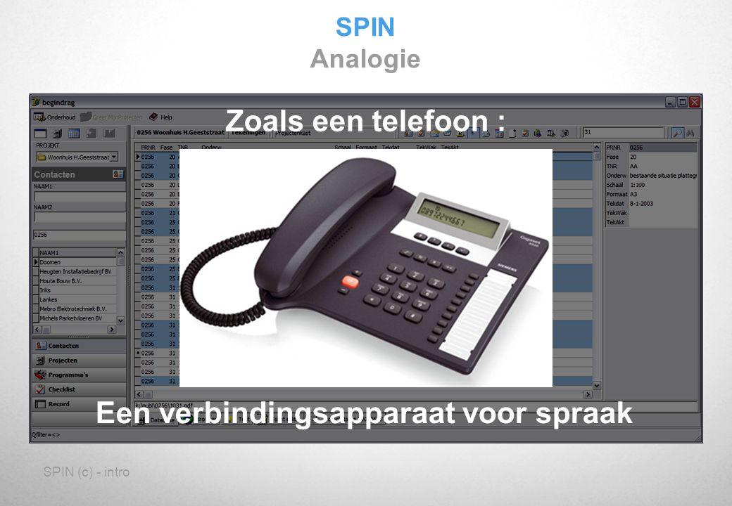 SPIN (c) - intro SPIN Analogie Zoals een telefoon : Een verbindingsapparaat voor spraak