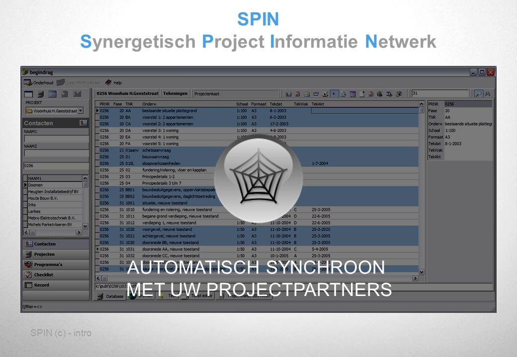 SPIN (c) - intro SPIN Synergetisch Project Informatie Netwerk AUTOMATISCH SYNCHROON MET UW PROJECTPARTNERS